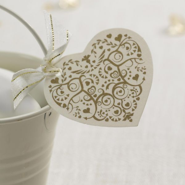 Vintage Romance Ivory & Gold Heart Tags (10)
